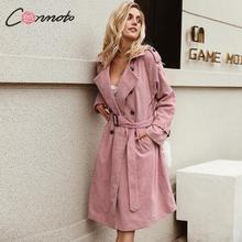 Conmoto Pink Corduroy Long Trench Women Coat Belt Tie High Fashion Autumn Winter