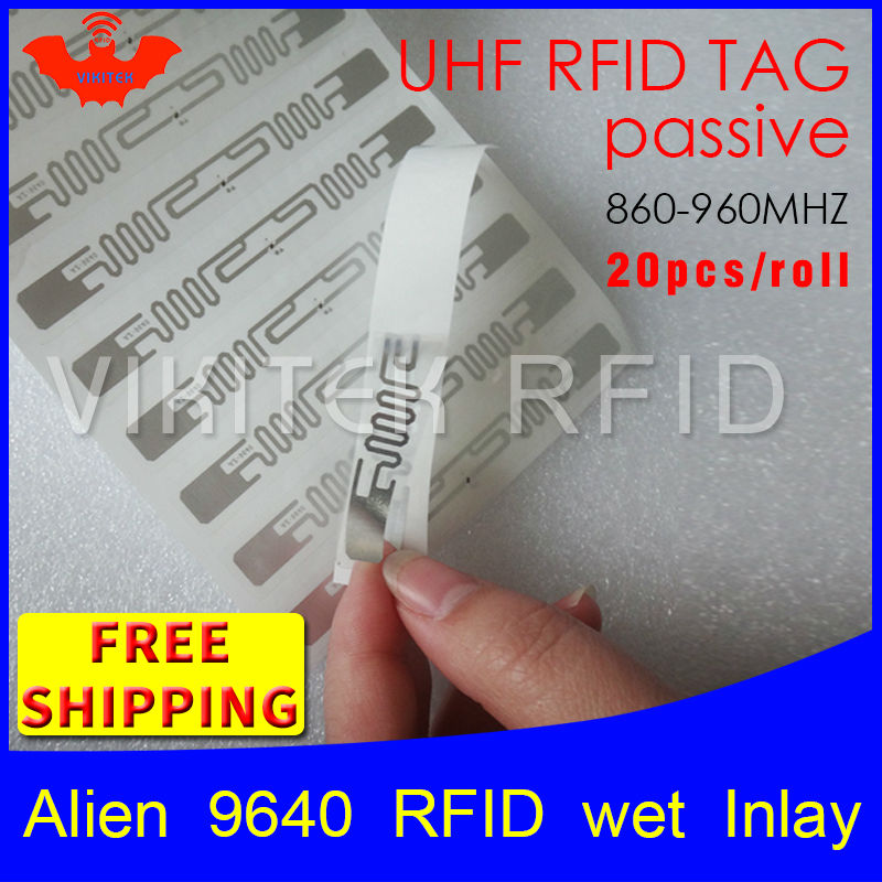 UHF RFID tag sticker Alien 9640 wet inlay 915m868 860-960mhz Higgs3 EPC 6C 20pcs free shipping self-adhesive passive RFID label 1000pcs long range rfid plastic seal tag alien h3 used for waste bin management and gas jar management