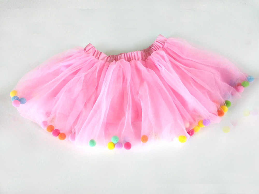8af3f3f11 ... 2018 New Baby Girls Colorful Tutu Pom Pom Birthday Tutus Kids Infant  Tulle Tutu Skirt