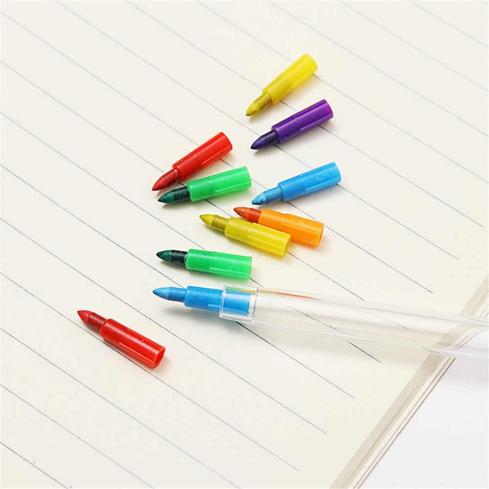2Pcs 10 สี DIY เปลี่ยนได้ดินสอสีน้ำมันพาสเทลสีสร้างสรรค์ดินสอ Graffiti ปากกาสำหรับเด็กวาดภาพวาดเครื่องเขียนน่ารัก