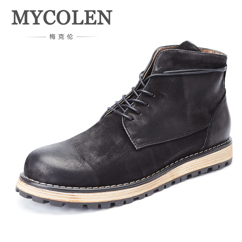 MYCOLEN New Arrivals MenS Boots Genuine Leather Men Handmade Solid Fashion Brand Lace-Up Boots Handmade Winter Bota MilitarMYCOLEN New Arrivals MenS Boots Genuine Leather Men Handmade Solid Fashion Brand Lace-Up Boots Handmade Winter Bota Militar