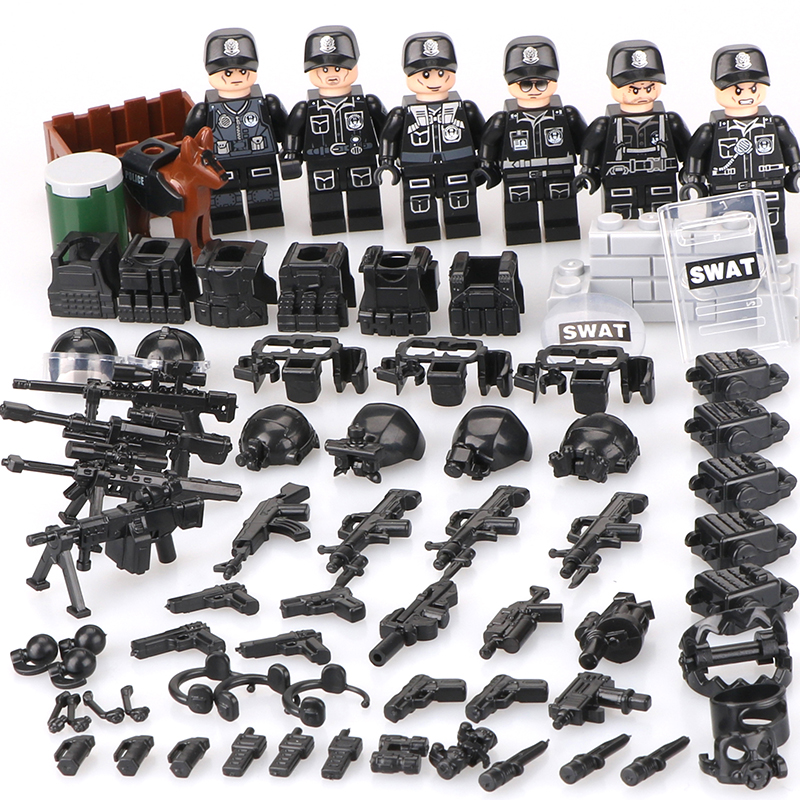 Military People Police Swat Team Army Soldiers Legoinglys with Aerial Weapons Helicopters WW2 Building Blocks Toys Children 6pz military city police swat team army soldiers with weapons ww2 building blocks toys for children gift