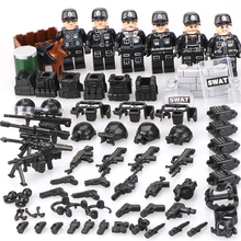 Military People Police Swat Team Army Soldiers Legoinglys with Aerial Weapons Helicopters WW2 Building Blocks Toys Children 6pz