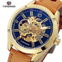 Forsining自動機械式時計の男性のトップの高級ブランド本革腕時計男性用スポーツスケルトン時計防水