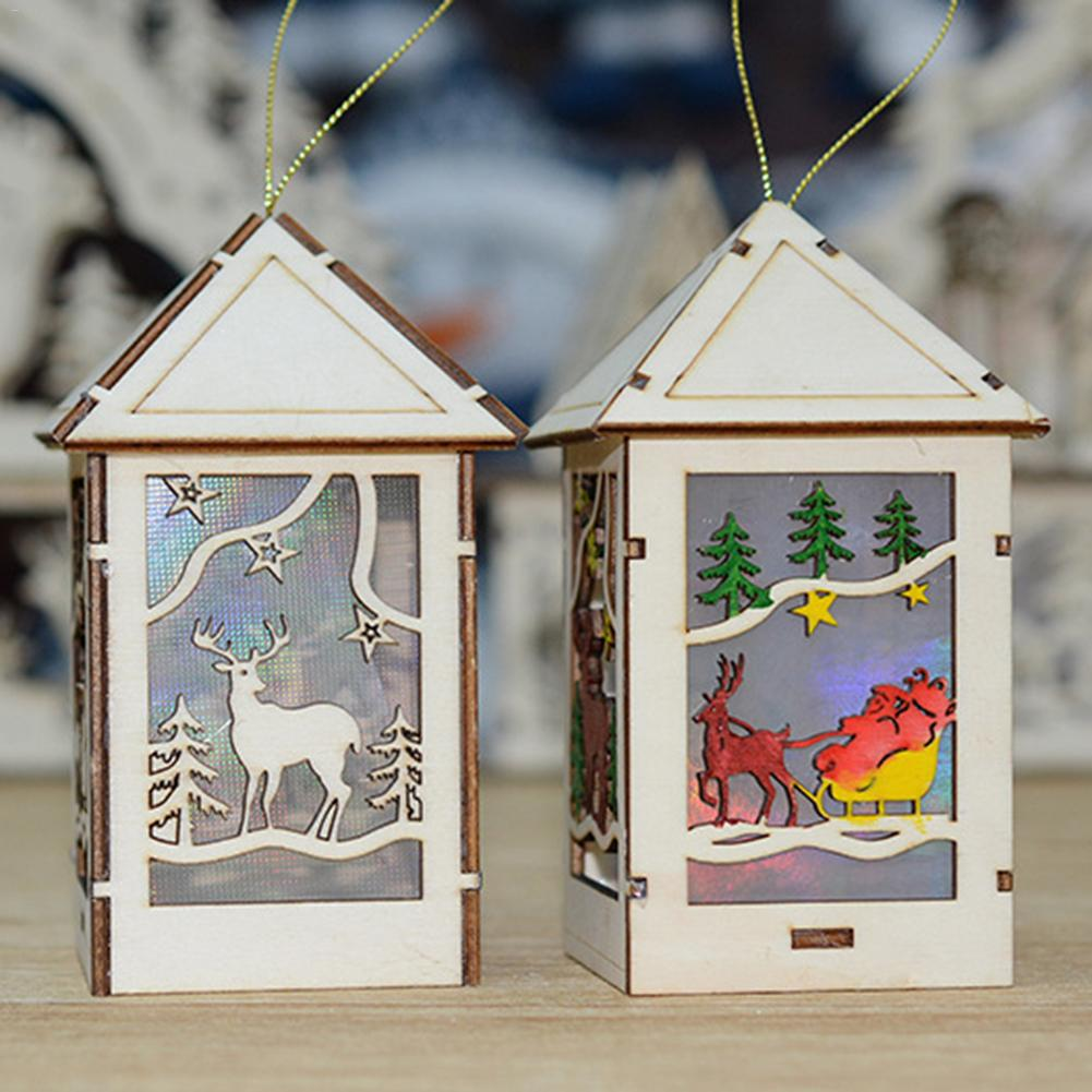 Christmas Wooden Pendant LED Lights Cafe Bar Sleigh Log Cabin Ornaments Party Decorations Xmas Tree Ornaments Kids Gift