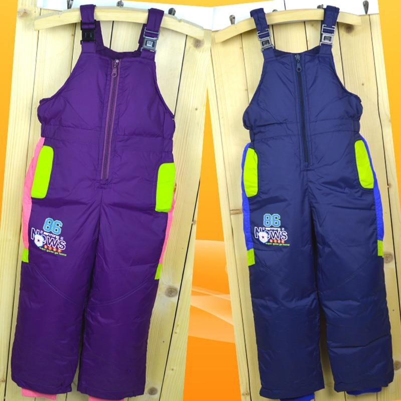 Winter Children's Ski Byxor Down Boys and Girls Hög midja Byxor - Barnkläder - Foto 3