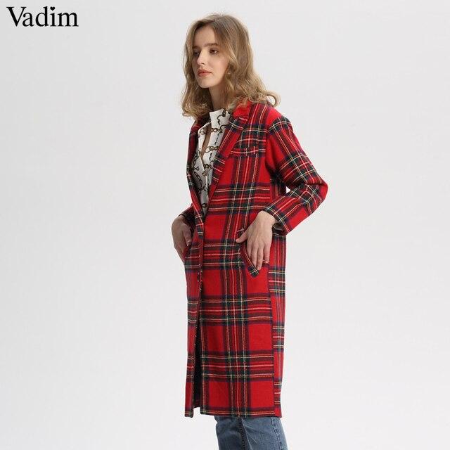 Vadim frauen red plaid lange woolen mantel dicke warme winter checkered langarm drehen unten kragen lose gerade tops CA213