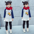 Fast High Quality Children Clothing 2016Korean Cute Thicken Patchwork Ruffles Cotton Princess Dress Girl Clothes Autumn Dresses
