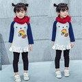 Rápida de Alta Calidad Los Niños Ropa 2016 de Corea Lindo Espesar Patchwork Ruffles Vestidos de Princesa Vestido de la Muchacha Ropa de Algodón de Otoño