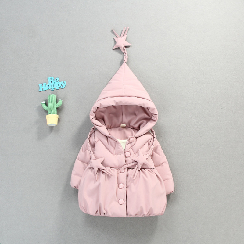 цена на 2018 Sale Qiu Dong With Girls Pure Color Clothes To Keep Warm And Lovely Princess Walking Dress Tide Van Cotton-padded Jacket