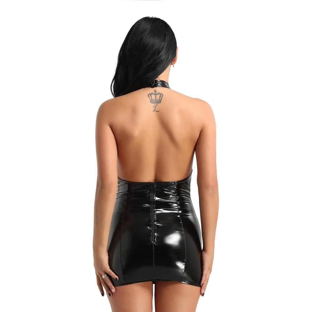 YiZYiF женское сексуальное платье клубный костюм мокрого вида платье из искусственной кожи Холтер шея открытая чашка с кисточками облегающее Мини-Платье Сисси сексуальное женское белье