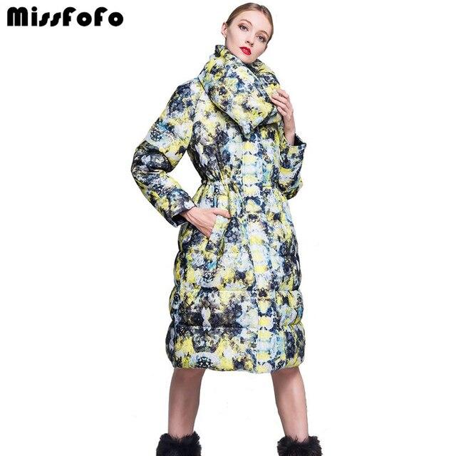MissFoFo 2018 Новый CLJ вниз пальто 3d кружева Модный пуховик и парки Для женщин зима длинный тонкий парка белая утка вниз 2XL