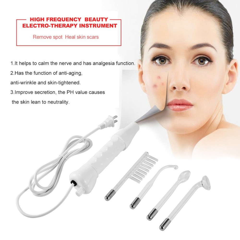 Portable Electrode High Frequency Spot Acne Remover Facial Skin Care Massager For Face Beauty Device Spa Salon Hom US EU Plug portable high frequency d arsonval skin tightening acne spot remover device beauty machine