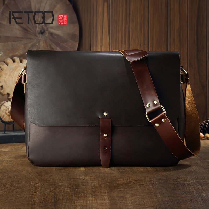 AETOO Men bag fashion leather shoulder bag package package men back the first layer of leather Messenger bag aetoo new first layer of leather men s shoulder bag leather male package cross section oblique cross bag japanese and korean ver