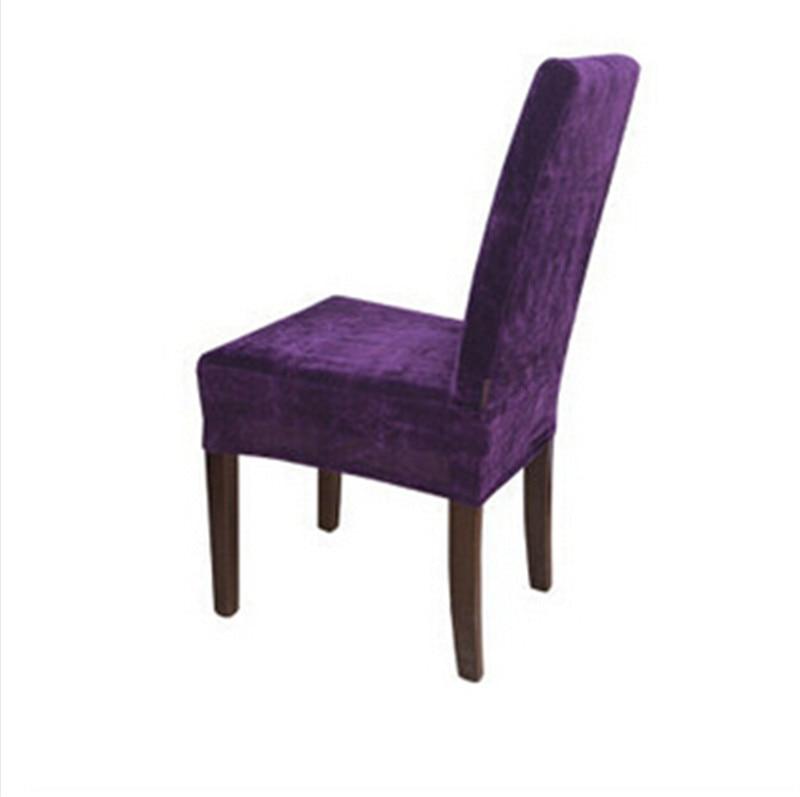 High Quality 100PCS Surefit Soft Suede Short Dining Chair Cover/ Wedding Decoration/  Eggplant(China)