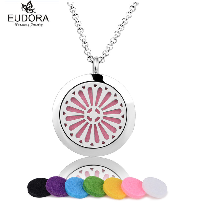 Round Essential Oil Diffuser Perfume Locket Stainless Steel Floating Aromatherapy Lockets Pendant Jewelry Chain Felt Pad