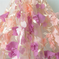 Soft Chiffon 3D Flower Lace Fabric Exquisite Tulle Mesh Lace Fabric Bridal Dress Fabric Black White Apricot Color 1 Yard