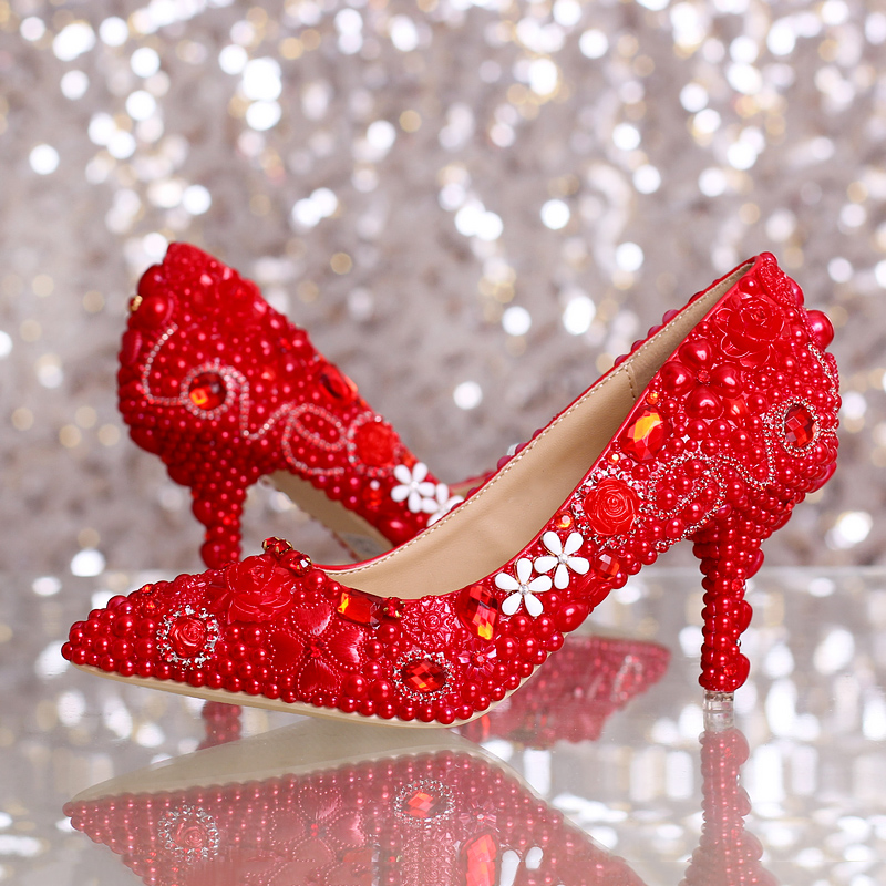 2016 new red pearl bowknot bride shoes med heel pointed toe single lady wedding shoes free shipping