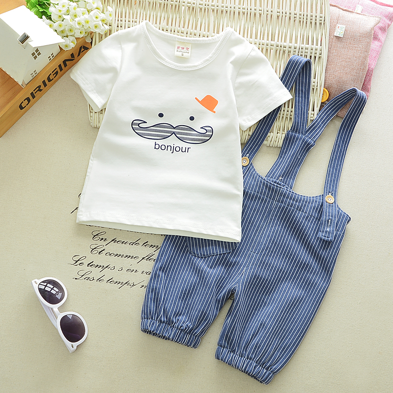 2017 Summer Baby Girls Boys Clothes Suits Infant Cotton Suits Casual Cute Beard T Shirt+Stripe Straps Shorts Children Kids Suits