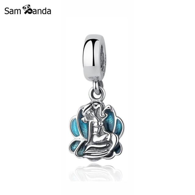067d80f6a Original 100% 925 Sterling Silver Charm Bead Little Mermaid Sea Shell Pendant  Charms Fit Pandora