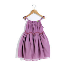 High Quality Girl Summer Party Dress Pleated Girls Purple Cotton Princess Dress Children Clothes For Kids