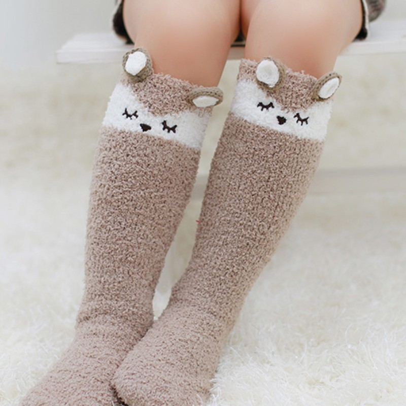 Kids Baby Coral Cashmere Tube Socks Three-dimensional Cartoon Anti-skid No Socks Children Winter Warm Sleep