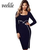 VEEKLE Summer Office Vintage 50s 60s Brief Long Sleeve Elegant Split Bottom Solid Retro Women Dresses