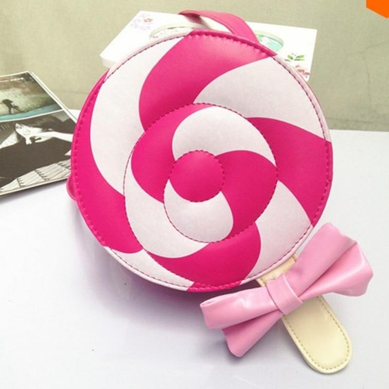 Sweet Lollipop Messenger bags Mini lovely girl children zipper candy bowknot pink cross-body female shoulder bag party gift