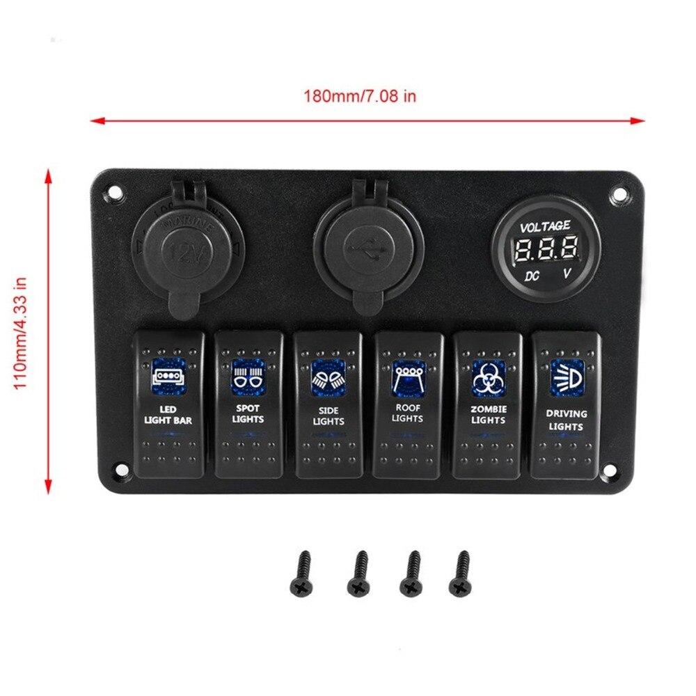 12V prise de courant 6 Gang étanche commutateur panneau de commande double USB prise chargeur avec indicateur LED lumière pour voiture bateau Marine RV