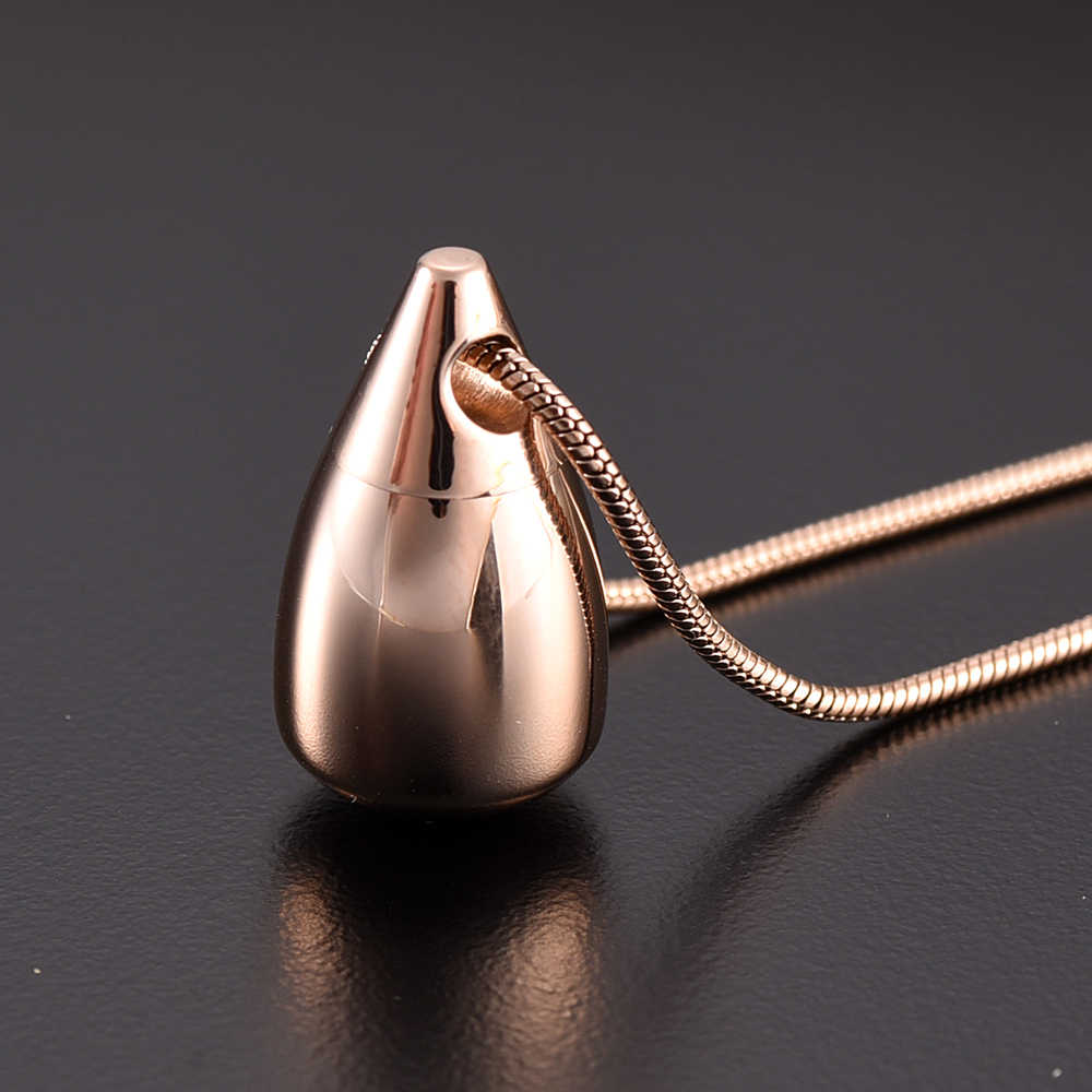 IJD9924 Stainless Steel  High polished Tear Drop Urn Cremation Pendant Memorial Necklace Ashes Holder for Human Keepsake Jewelry