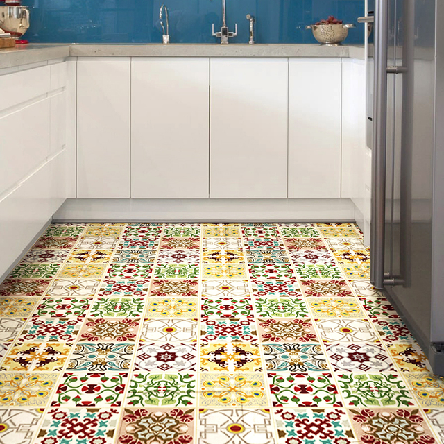 Aliexpress Buy Bohemian Floor Tile Stickers From The Kitchen