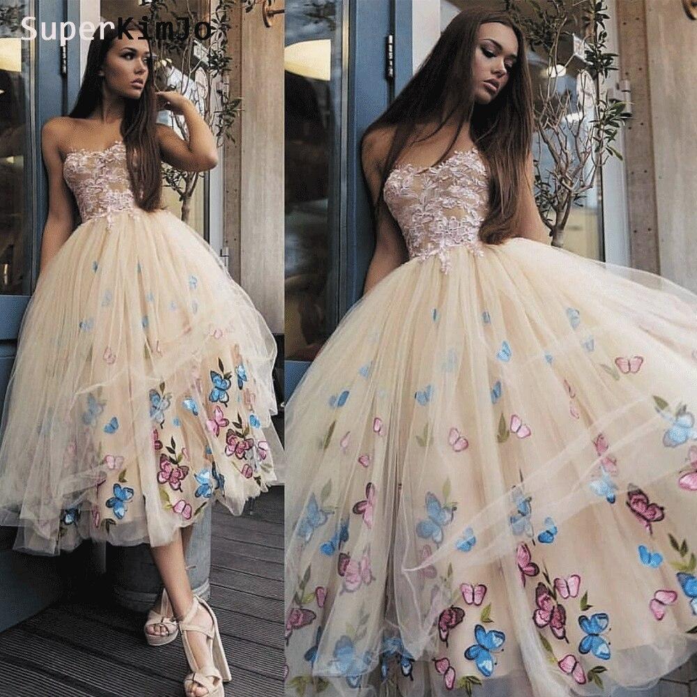 SuperKimJo Vestidos De Graduacion 2019 шампанское Короткие бальные платья вышивка цветок Платья для особых случаев
