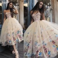 SuperKimJo Vestidos De Graduacion 2020 Champagne Short Homecoming Dresses Embroidery Flower Special Occasion Dresses