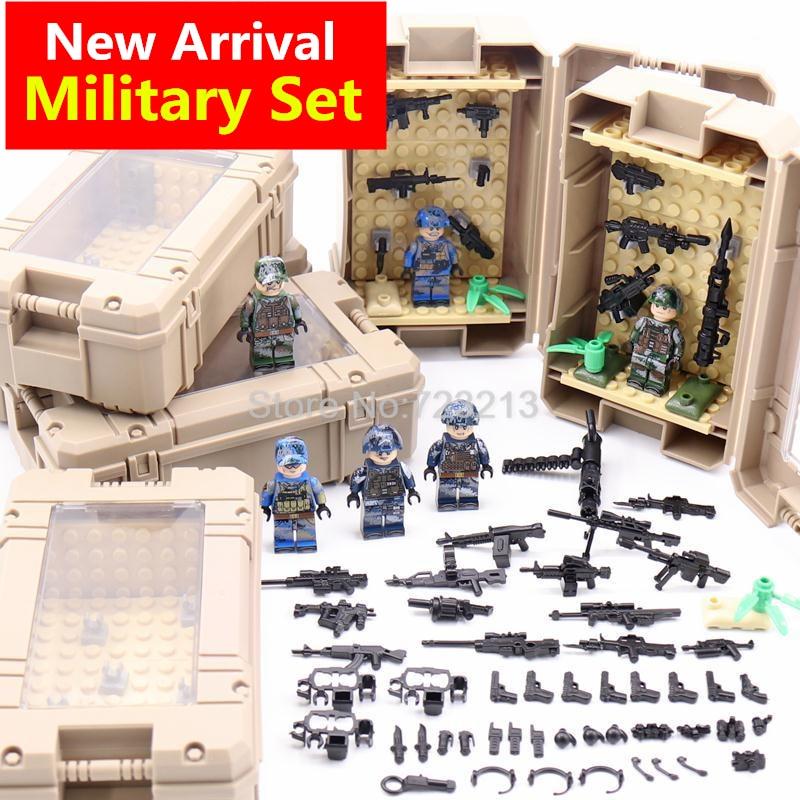 6pcs//set Military Soldiers Battle Equipment Building Blocks Figures Bricks Toys