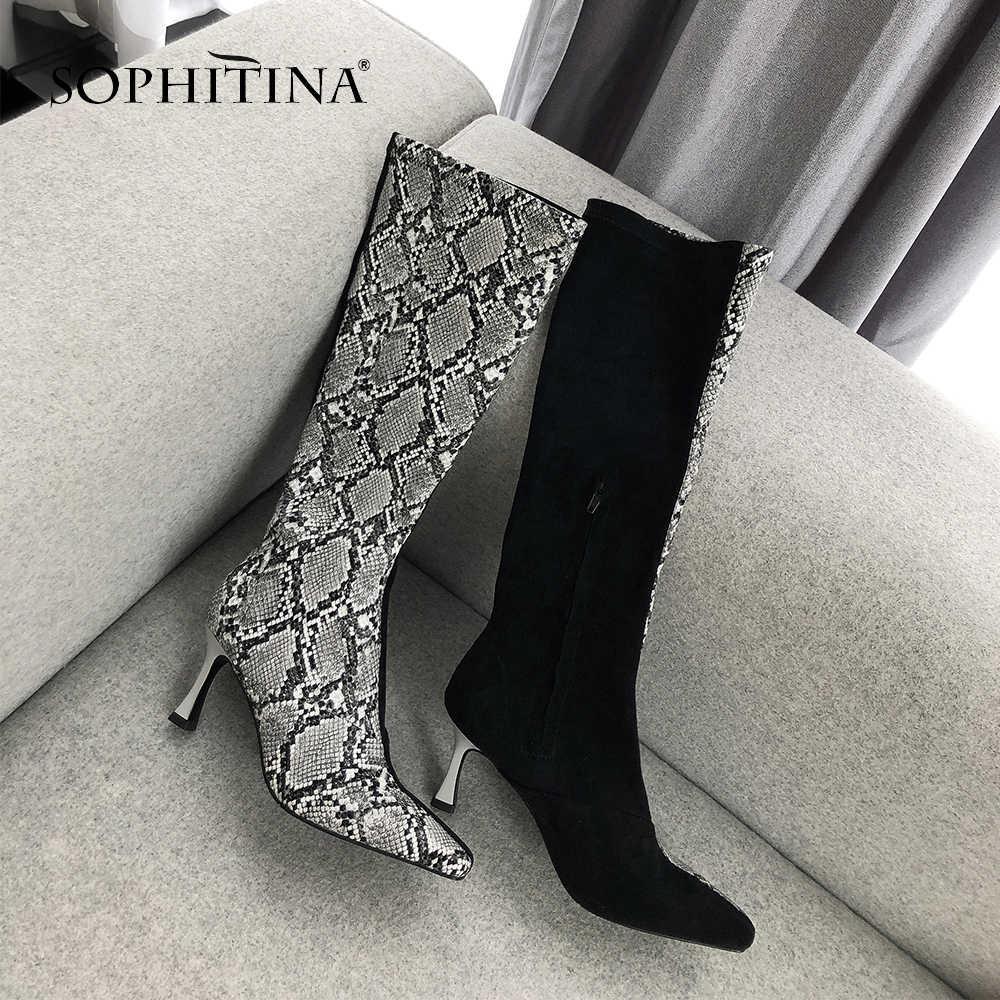 SOPHITINA özel tasarım kare burunlu botlar rahat moda hayvan baskılar yeni kadın fermuar ayakkabı zarif ince topuk çizmeler PO227
