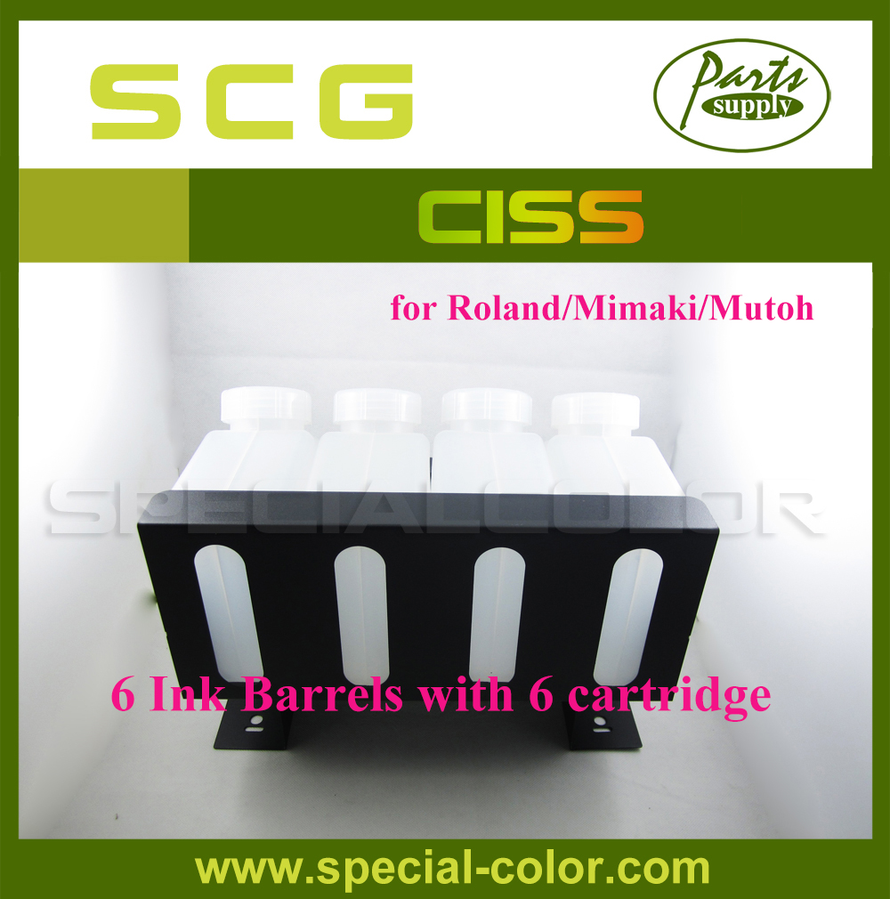 High Quality!! printer Refillable CISS ink cartridge for Roland/Mimaki/Mutoh ( 6 ink barrels with 6 ink cartridge) solvent printer ink pump for roland mimaki mutoh printer