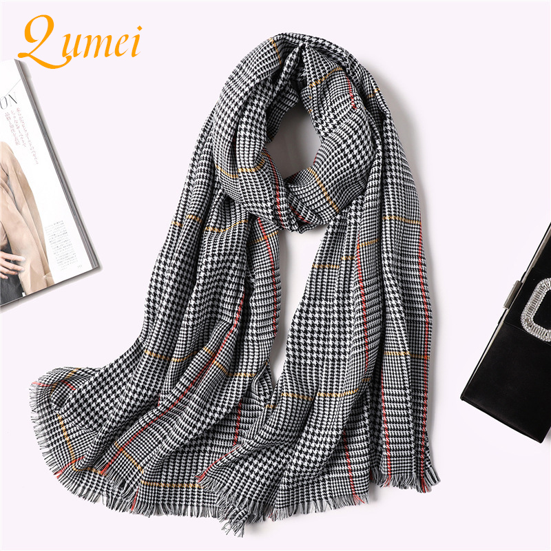 Qumei Knitted Spring Winter Women Scarf 2019 Plaid Warm Cashmere Scarves Shawls Luxury Brand Neck Bandana Pashmina Lady Wrap A10