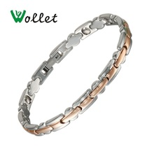 Wollet Jewelry 20cm Healing Energy Germanium Hematite Ion Stainless Steel Magnetic Bracelet for Women Chain Link