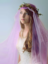 5 Meters Wedding Picture Bridal Long 3M 5M Violet Purple Soft Mesh Tulle Lace Veil Women Bride Veils 300CM 500CM Without Comb