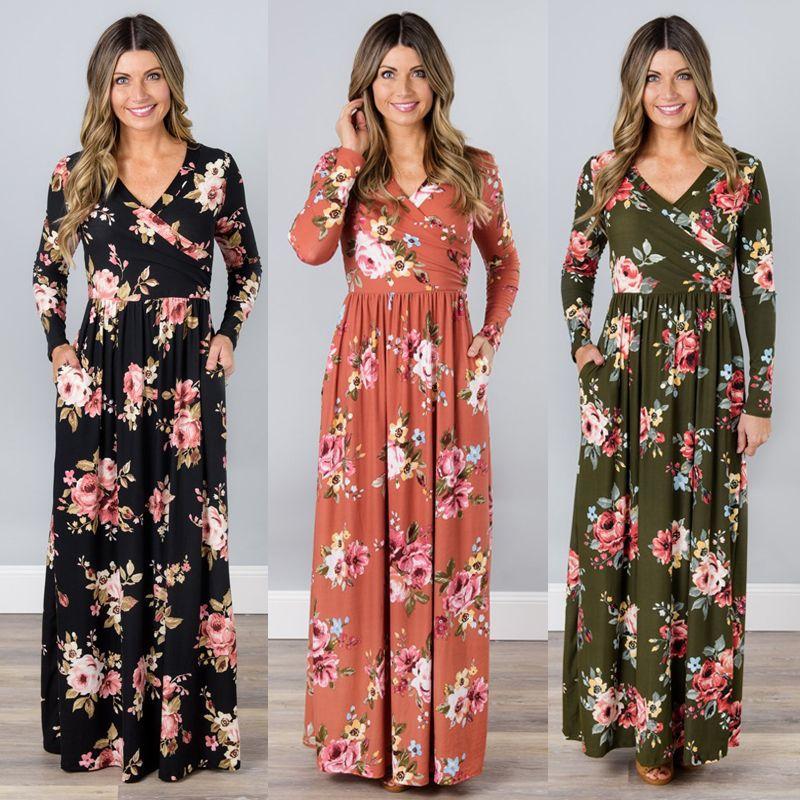 BKLD 2018 Printemps Longue Robe Imprimé floral Boho Plage Robe Tunique Maxi Robe Portefeuille Femmes À Manches Longues Col V Robe