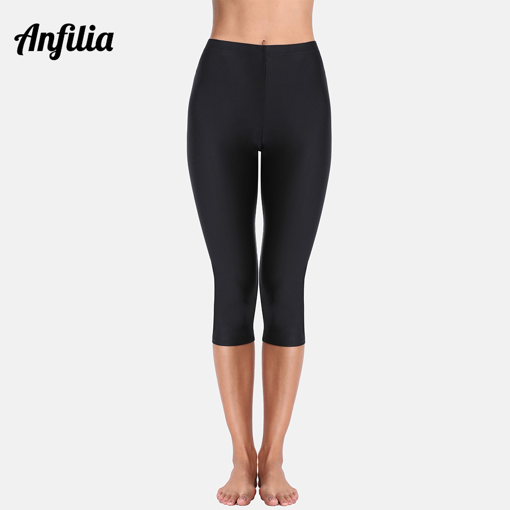 Anfilia Women High Waist Swimming Pants Ladies Capris Pants Tankini Bottom Swimwear Boardshort Swimming Bottoms