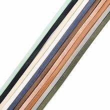 LOULEUR 5mm 5 jardów/rolka kolorowy PU skórzany sznur DIY płaskie skórzane do biżuterii tkaniny dokonywanie dekoracji znalezienie akcesoria