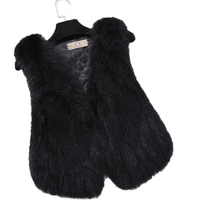 Faux Fur Vest Winter Women Faux Fox Fur Vest Furry Slim Colored Fur Vest Woman Fake Fur Vest Plus Size High Quality WU81