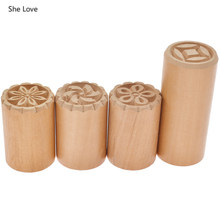 She Love Leaf Flower Pattern Wood Stamp Diy Embossed Sculpture Model Ceramic Pottery Polymer Clay Tools Wooden Stamps(China)