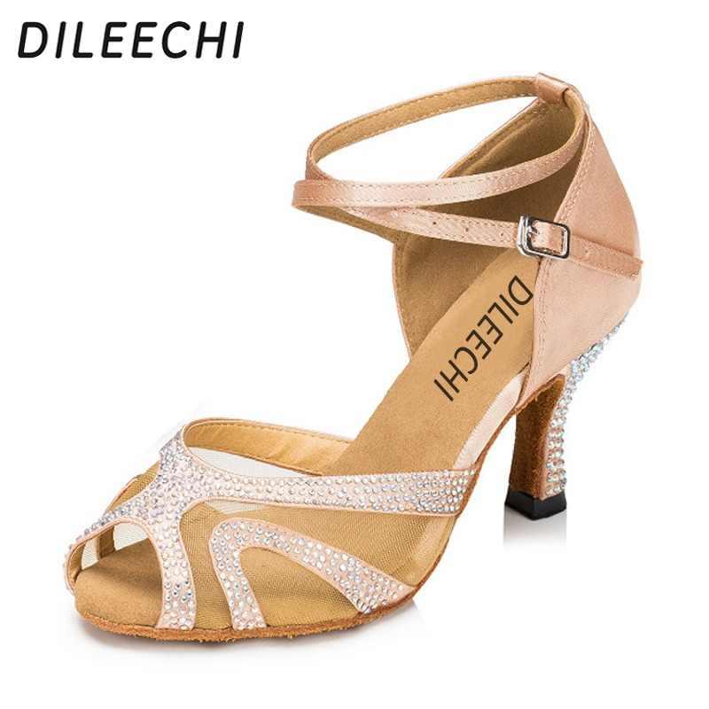 DILEECHI Women s satin crystal rhinestone salsa tango Latin dance shoes  ballroom dancing shoes skin color heel 42157040aa9b
