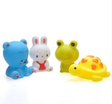 4 pçs/set brinquedos de banho do bebê Squeaky brinquedos encantador animais mistos colorido suave espátula de borracha Squeeze som sibilante banho Toy