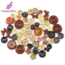 Lucia crafts Appr: 20 г смешанный произвольно деревянные пуговицы из смолы DIY Швейные плоские с оборота пуговицы, аксессуары для одежды E0102