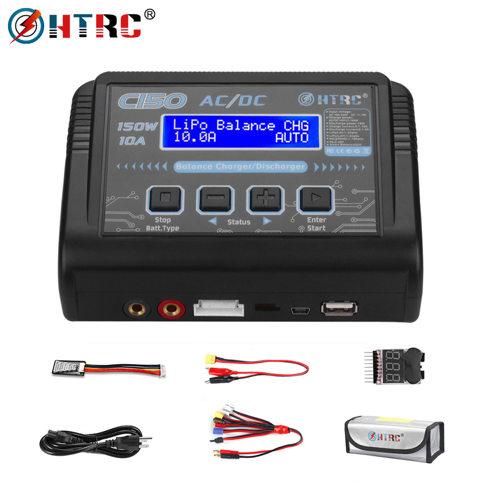 New HTRC C150 Lipo Charger Black Color AC/DC 150W 10A Drone Balance Discharger For LiPo LiHV LiFe Lilon NiCd NiMh Pb Battery