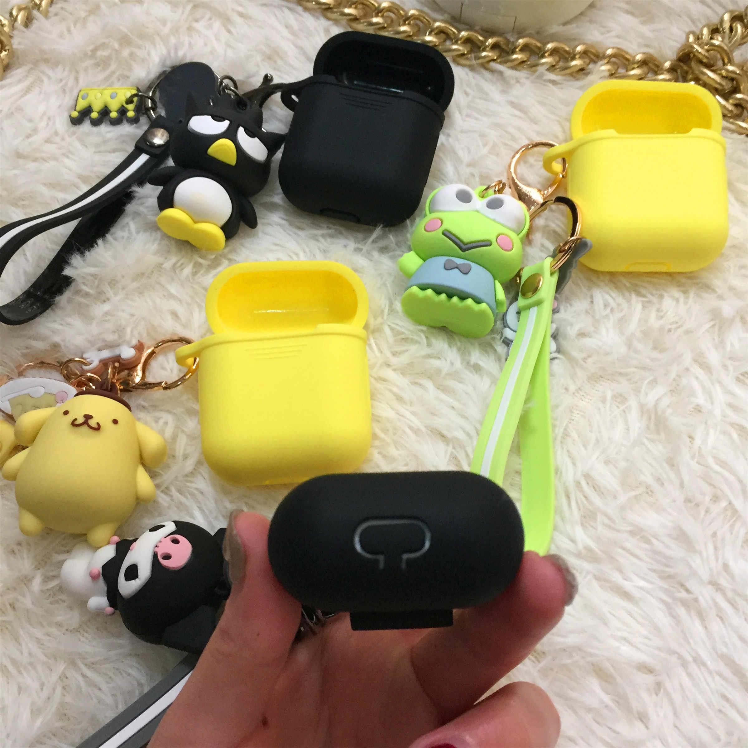 חמוד Cartoon עבור airpods מקרה הלו קיטי מלודי עבור iPhone אוזניות רך הסיליקון תיק אוניברסלי טלפון להתחבר רצועה, להקת יד