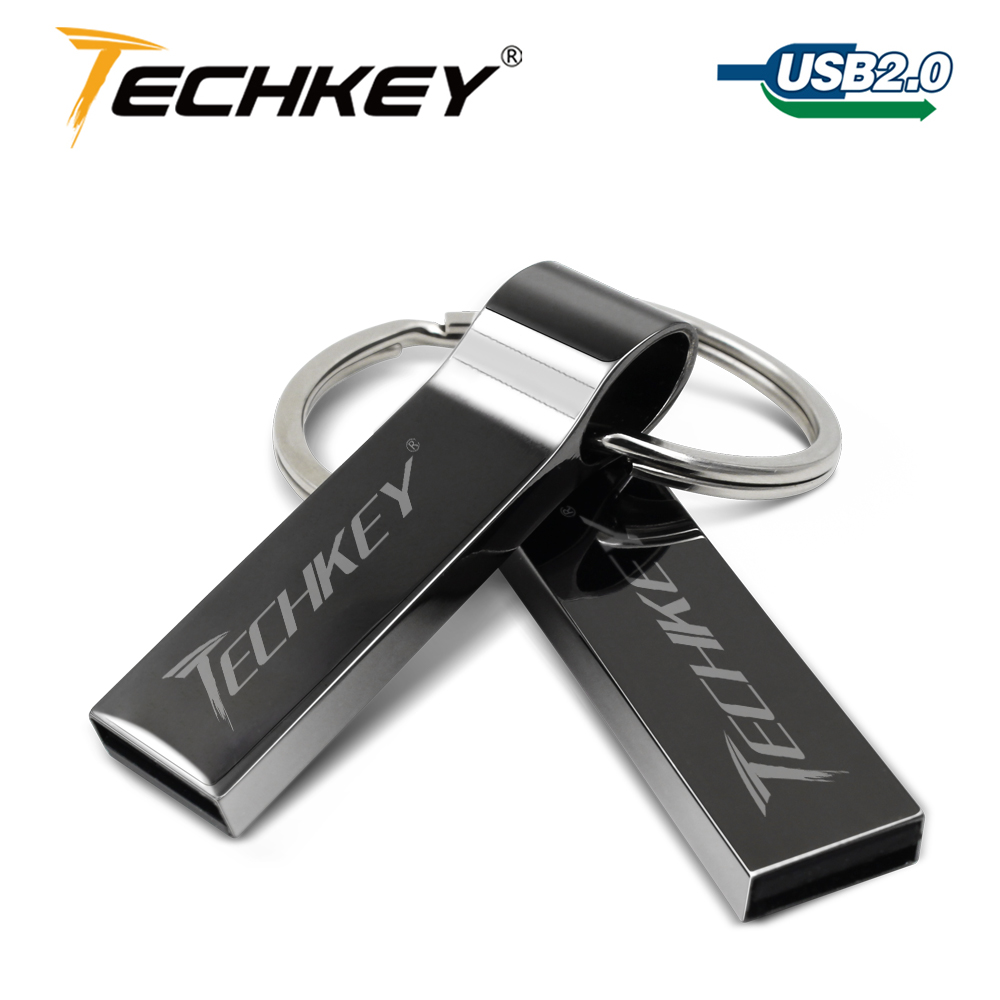 Waterproof Metal Silver Usb Flash Drive 64gb Pen Drive 32GB 16GB 8GB 4GB Pendrive With Key Ring U Disk Memory Disk Usb 2.0